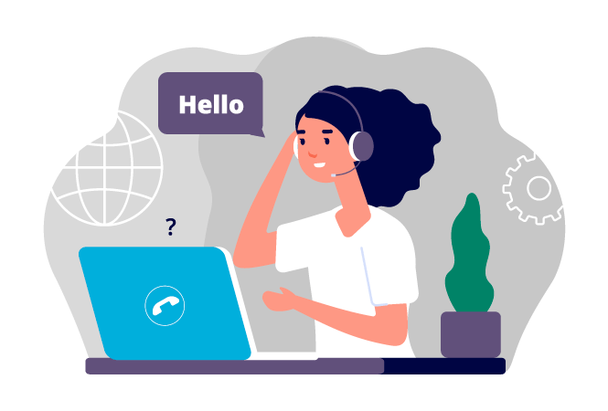 Illustration of a woman with curly hair with a headset at a laptop saying hello